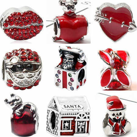 Red Color Big Statement Santa Claus Tree Hearts Crystal Charms Beads Fit Pandora Bracelets & Bangles Women DIY Christmas Jewelry