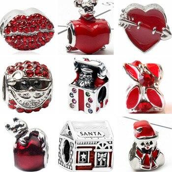 Color rojo gran Declaración Santa Claus árbol corazones dijes con cuentas de cristal ajuste Pandora pulseras y brazaletes mujeres DIY joyería de Navidad