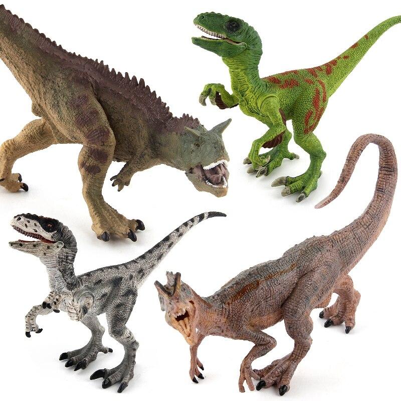 Jurassic World Park Carnotaurus Dilophosaurus Velociraptor Plastic Dinosaur Toys Model Action Figures Mandible Moveable Gift lamwin hot gift toy dinosaur small plastic pvc model jurassic world park action figures for kids