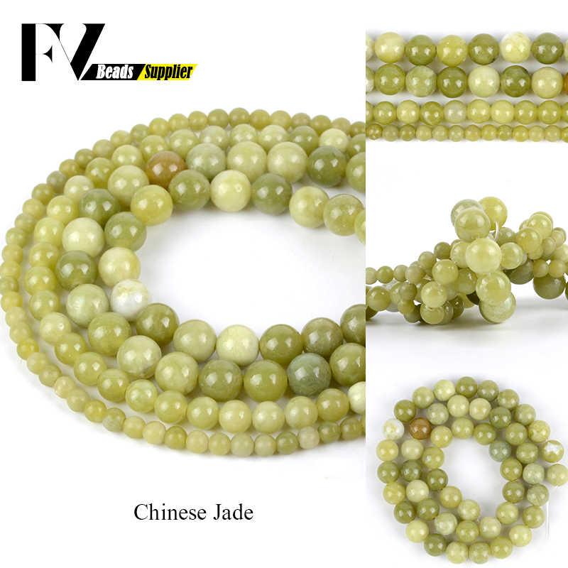 """ธรรมชาติ Jades รอบลูกปัดสำหรับเครื่องประดับทำ 4mm - 12mm Semi Precious Stones ลูกปัด Diy ผู้หญิงผู้ชายสร้อยข้อมืออุปกรณ์เสริม 15"""""""