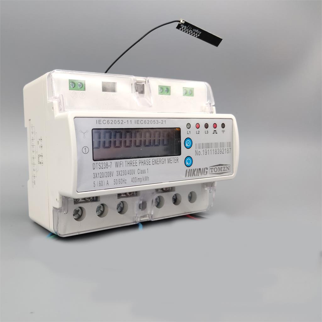 Compteur d'énergie intelligent de rail de Din de wifi de télécommande de 3 phases 60A kwh avec la protection de courant de sous-tension RS485