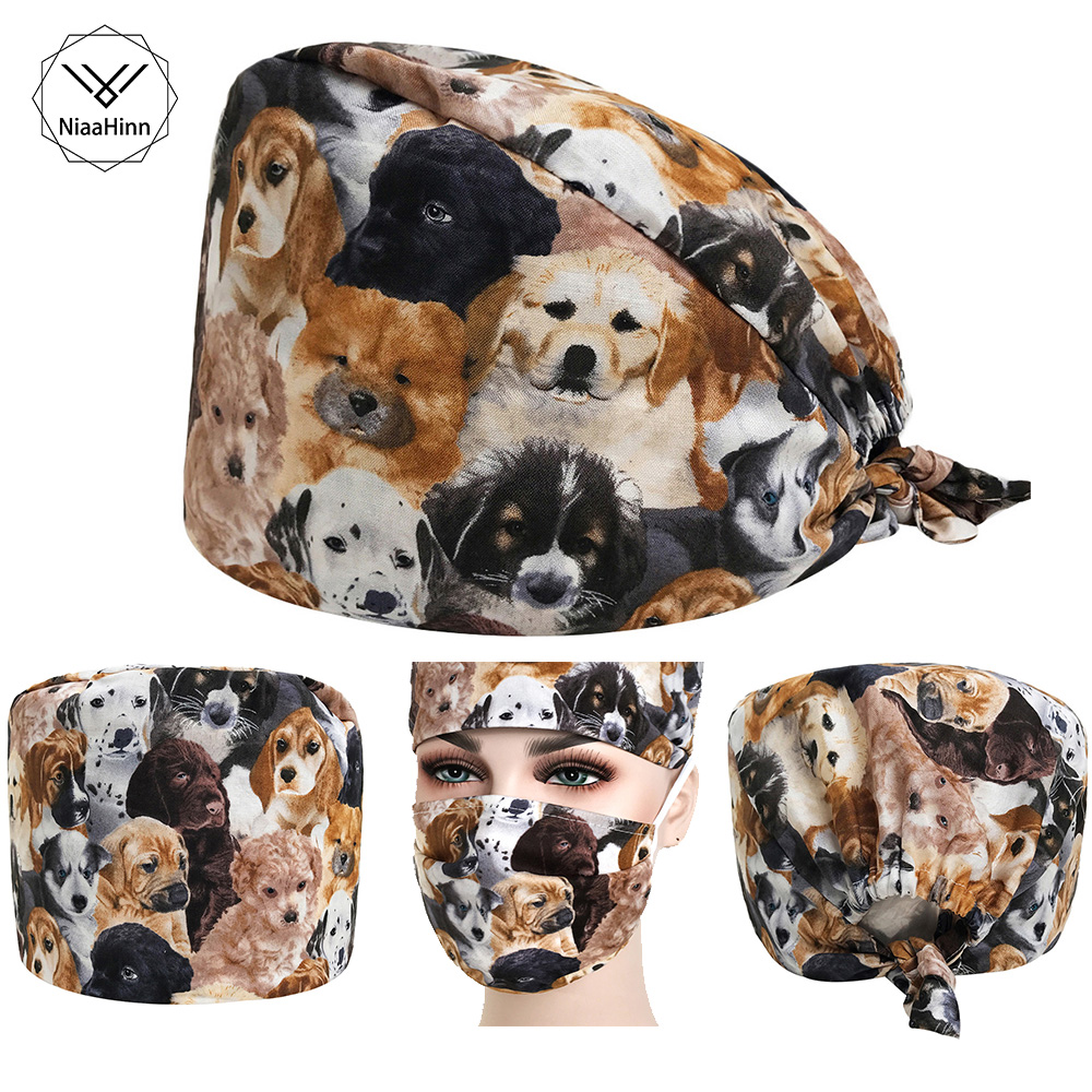 Women Surgical Caps Pet Dog Print Doctor Nurse Medical Cap Beautician Cap Dome Scrub Hat Surgical Caps Masks For Doctor Nurse