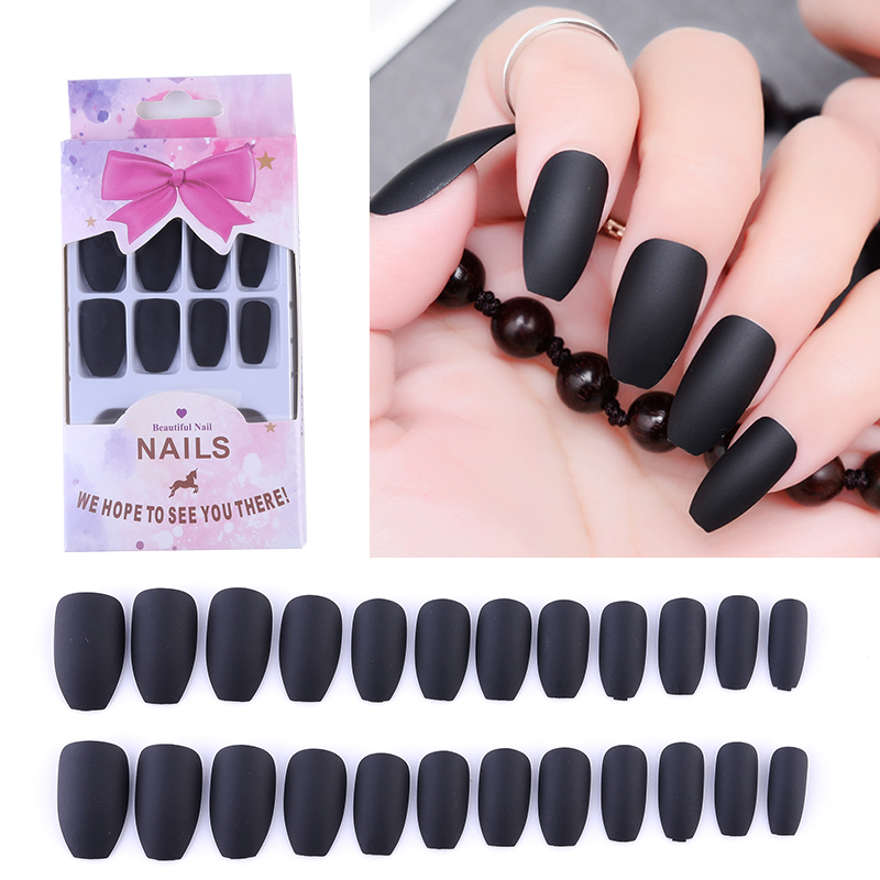 US $2.47 45% OFF|Matte Coffin False Nails Grey Blue Designs Nude Color 24pcs Full Nail Tips Reused Ballerinas Wine Red Fake Nails with Nail Glue in