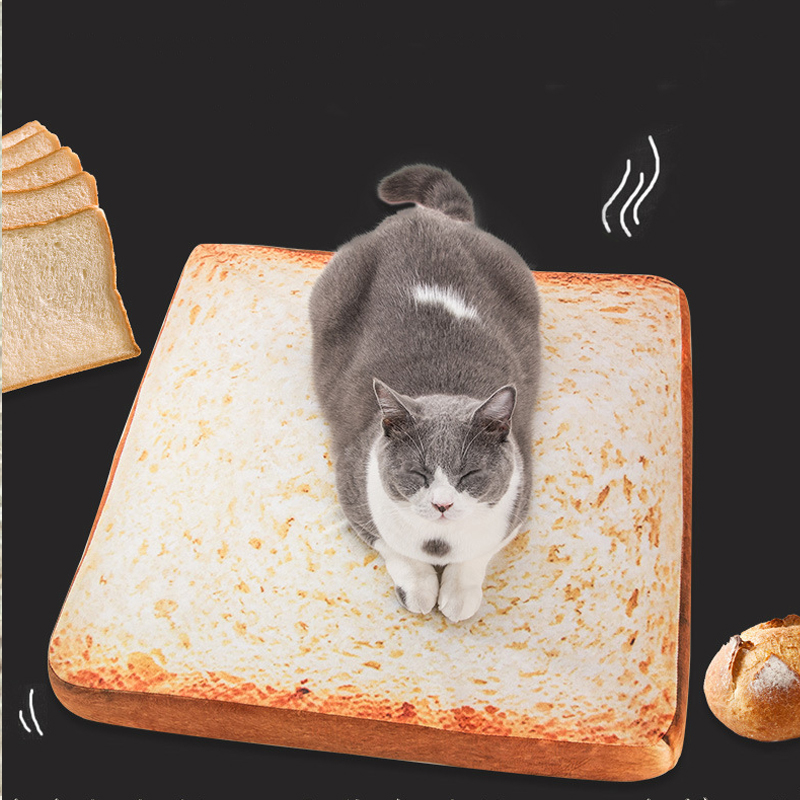 creative soft comfortable bread toast cat bed mat soft fleece puppy cushion detachable wash small cat