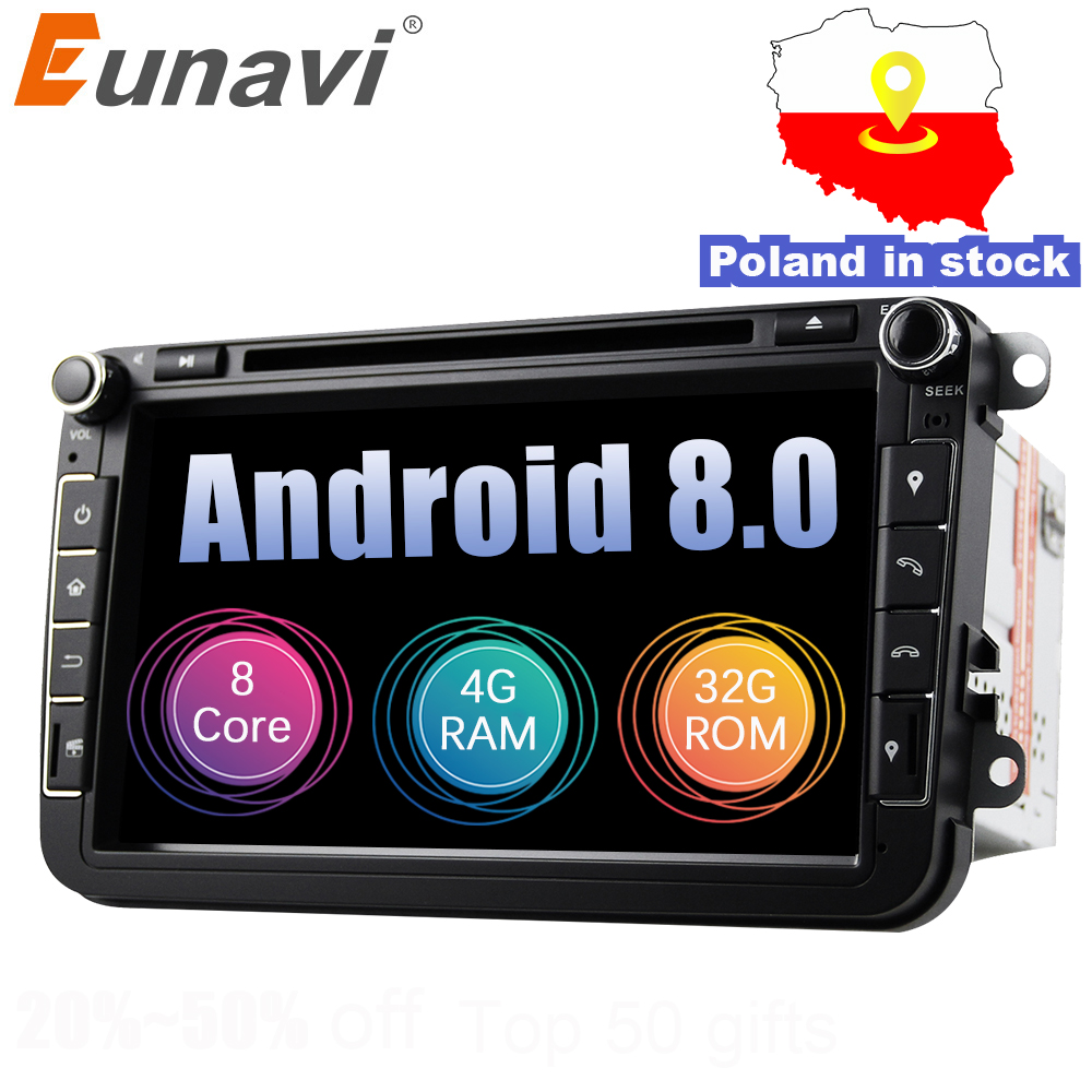 Eunavi 2din Android 8.0 Octa Core 4 GB di RAM DVD Dell'automobile per il VW Passat CC Polo GOLF 5 6 Touran EOS T5 Sharan Jetta Tiguan GPS Radio bt