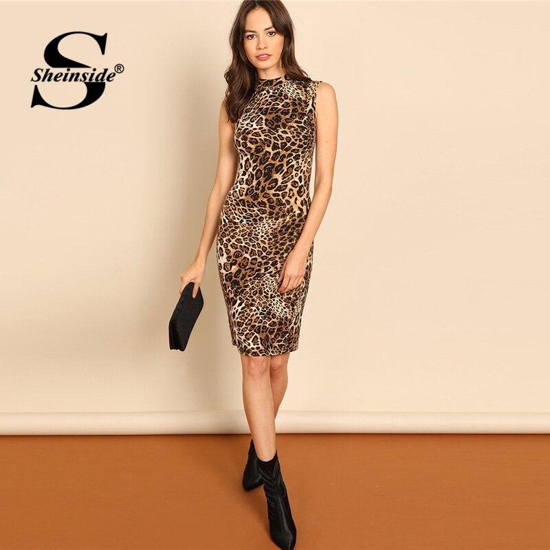 Sheinside макет шеи Bodycon леопардовое платье элегантное женское летнее платье без рукавов 2018 длиной до колена офисный женский карандаш платья
