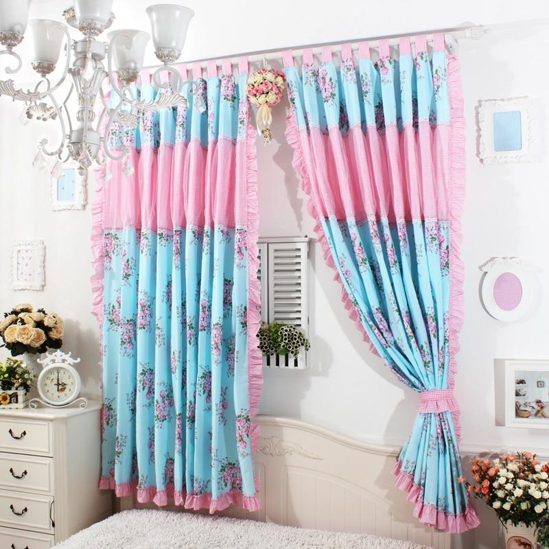 European Princes Blue rose Ruffle Curtain Window treatment Curtains ...