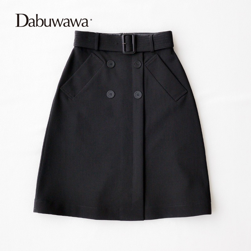 Dabuwawa Autumn Winter Knee Length A-Line Skirt British Style High Waist Skirt With Pocket Women Skirts #D17CSK020 dabuwawa autumn winter new high waist plaid elegant skirt knee length slim fit formal skirt ladies pencil skirts d16csk003
