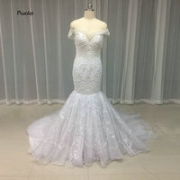 2017 New Arrival Mermaid Wedding Dresses Off The Shoulder V-neck Appliques Heavy Beaded Pearls Wedding Gown Custom Made
