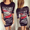 2017 NEW Summer Dress Sexy Women Dress O-Neck Tight floral Print dress Fashion short Sleeve Bodycon knitting empire LS0019