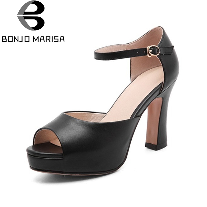 BONJOMARISA New women's Genuine Leather Square High Heels Buckle Strap Platform Shoes Woman Casual Summer Sandals Big Size 33-40 woman fashion high heels sandals women genuine leather buckle summer shoes brand new wedges casual platform sandal gold silver