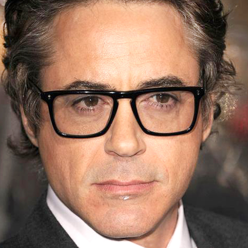 Robert Downey Iron Man Glasses Square Top Acetate Frame Eyeglasses Black Causal Eyewear