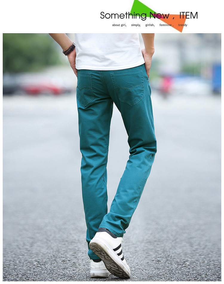 Business Casual Pants 11 Colors New Casual Pencil Pants Men Slim Pant Straight Trousers Solid Leisure Zipper Spring Summer k919 44
