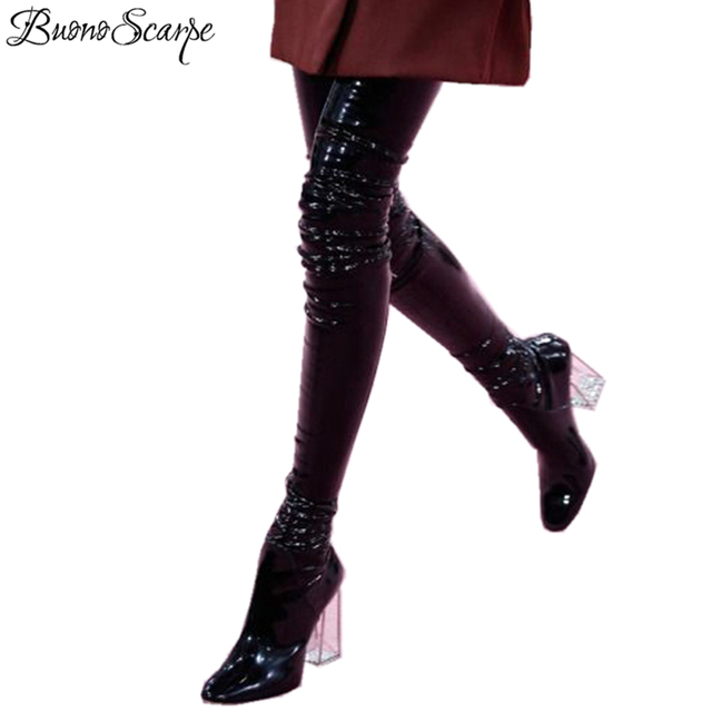 8b23a3b1ded US $79.2 40% OFF|BuonoScarpe Sexy Clear Chunky High Heels Over The Knee  Boots Women Patent Leather Black Stretch Sock Thigh High Boots For Women-in  ...