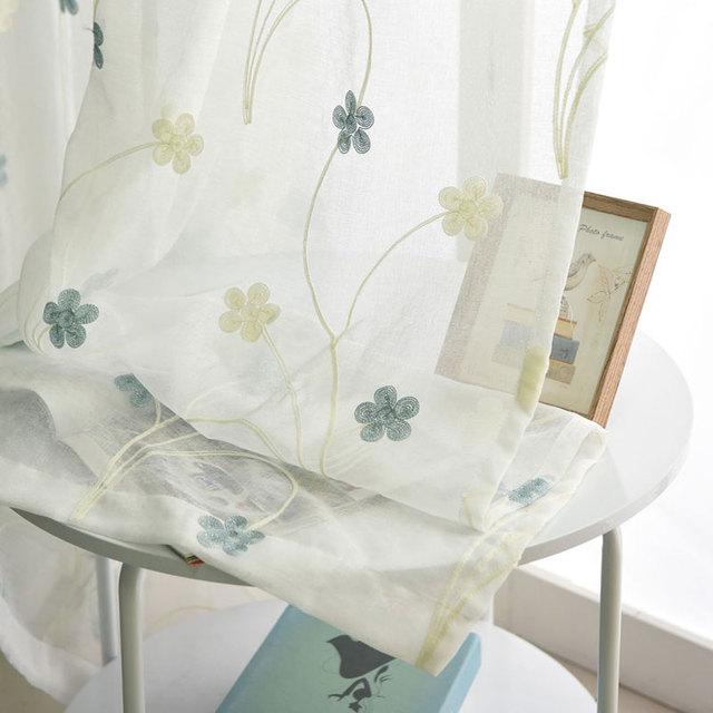 Cortinas de tul bordadas para sala de estar patrón de flores ...