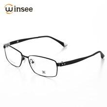 a893dc7b9d8c1 Winsee Pura Armação De Titânio Quadro Óculos de Armação Vidros Míopes  Quadro Negócios T170702