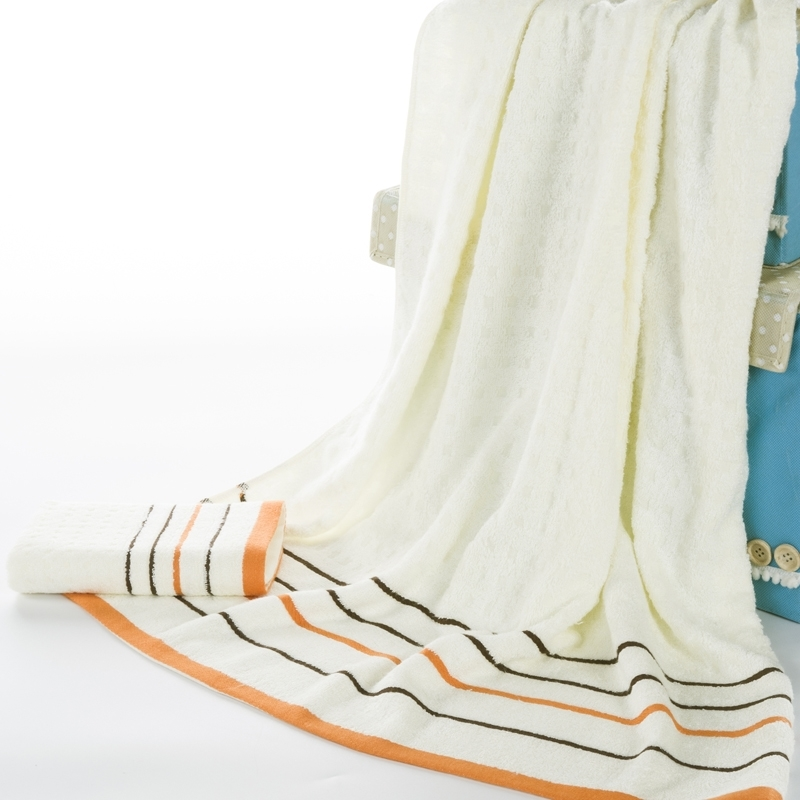 70*140cm Bamboo Fiber White Jacquard Stripe Bath Towel