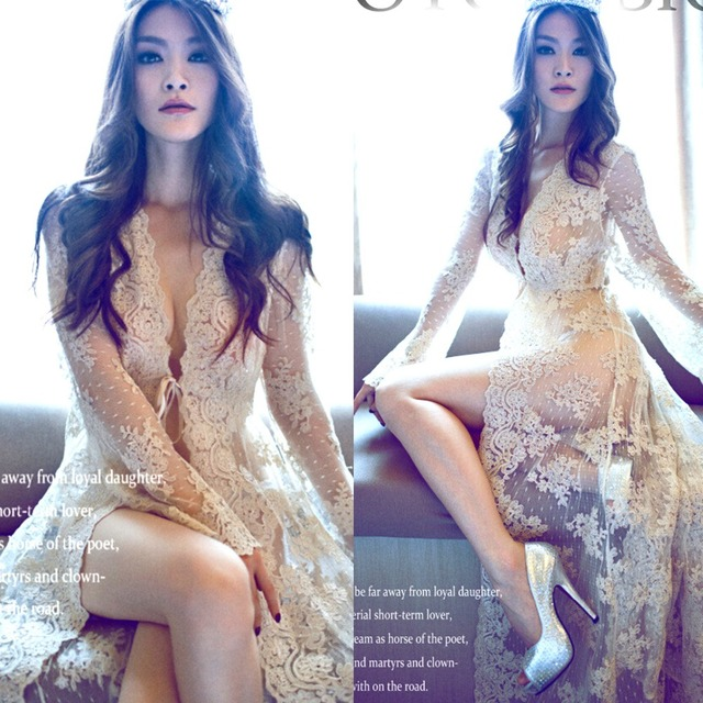 Hot New summer style lace transperant white beach dress Maternity Long lace Dresses Pregnant Photography Props Fancy Pregnancy
