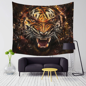 Comwarm 3D Wild Tiger Series Pattern Polyester Tapestry Wall Hanging Cool Tigers Cozy Leopard Family Beach Living Room Decor Art