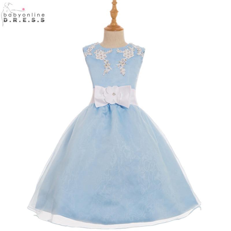 Vestidos de Primera Comunion Cheap Light Blue Appliques   Flower     Girl     Dresses   for Weddings First Communion   Dresses   for   Girls