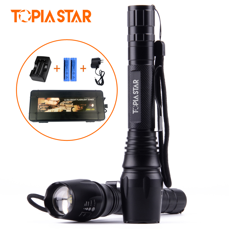 TOPIA STAR 10W Powerful LED Flashlight Cree XML T6 Torch light Zoomable Rechargeable Flashlight Torch 6000lumens bike bicycle light cree xml t6 led flashlight torch mount holder warning rear flash light