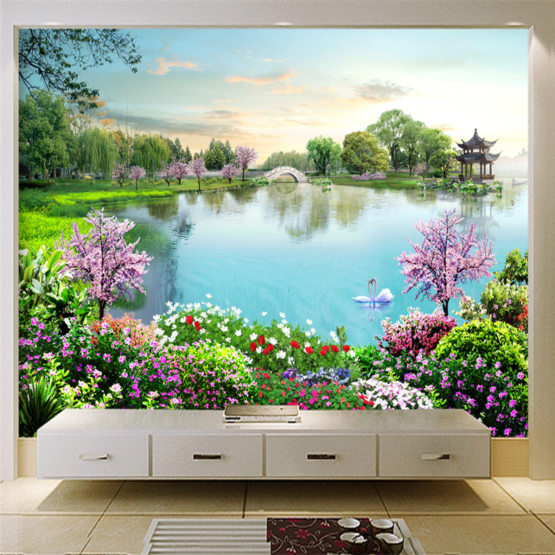 Nature Landscape Wall Murals 3D Custom Photo Wallpapers Lake Flowers Forest Wall Papers for Living Room TV Backdrop Home Decor custom wall papers home decor flamingo sea 3d wallpaper murals tv background kitchen study bedroom living room 3d wall murals