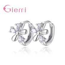 GIEMI Hot Promotion 925 Sterling Sølv Trendy Flower Hoop Øredobber For Women Girls Elegant Glatt CZ Zircon Dangle Brincos