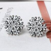 925 Sterling Silver Jewelry Earrings Snowflake Clear Zircon For Office Lady Gift For Sweet Women Cute
