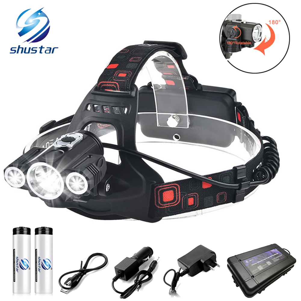 Super bright LED Headlamp 3 x T6 led lamp bead 10000 lumens led headlight 4 lighting modes camping lamp use 18650 battery цена