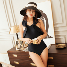 Bikini 2019 New Style Sexy Women Swimsuit Black Flouncing Swimming Suit Summer Mujer Big Backless Bandage Halter Bathing