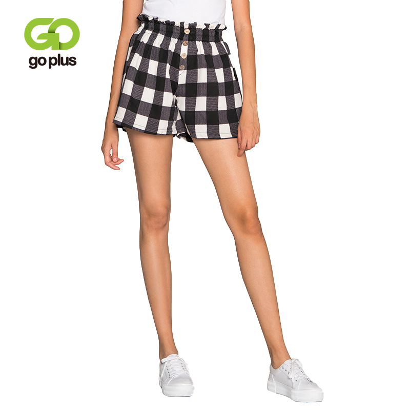 GOPLUS Summer Shorts Womens Vintage Casual Plaid High Waist Buttons Elastic WaistShorts Womens Loose Leg Pantalones Cortos Muje
