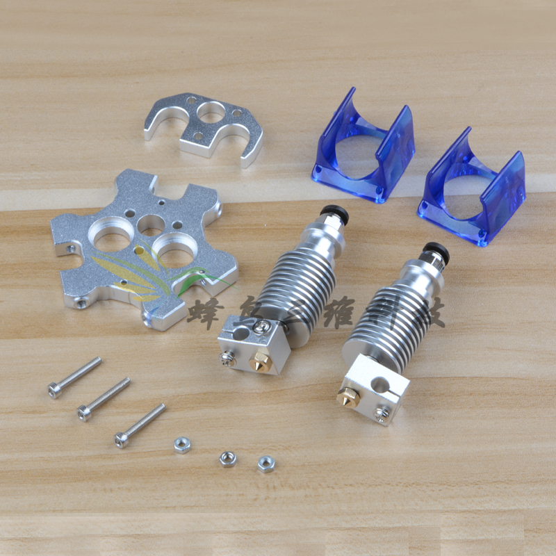 Funssor 3D printer accessories 3D V6 double extrusion nozzle kit dual hotend with M4 effector Aluminum Alloy metal fisheye flsun 3d printer big pulley kossel 3d printer with one roll filament sd card fast shipping