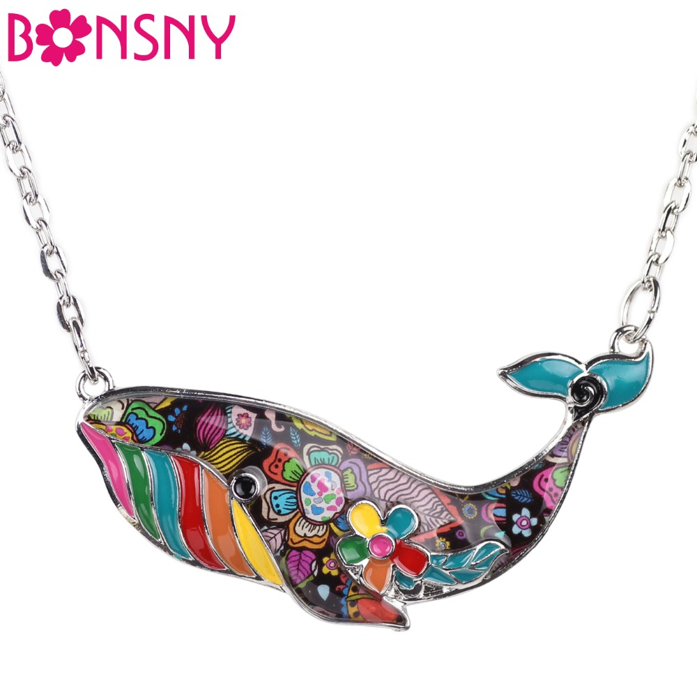 Bonsny Enamel Alloy Ocean Collection Whale Necklace Pendant Chain Collar Choker Novelty Animal Jewelry For Women Girls Gift Bulk