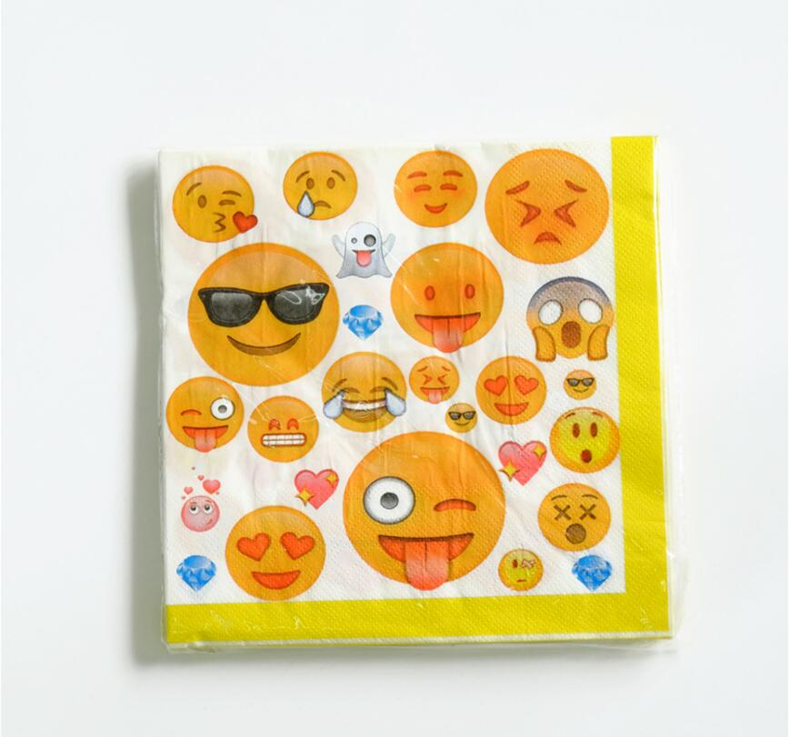 20pcs emoji paper napkins birthday party decoration party for Decoration emoji