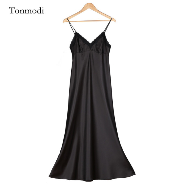 Bridesmaids Long Silk Nightgowns Women black And White Satin Nightdress Lace Spaghetti Strap Sexy Silk Sleep Wear Nightshirt