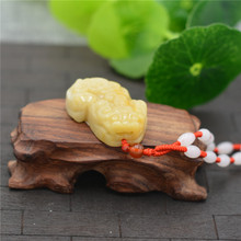 New Natural HuangLong Stone Jades Pendant 3D Carved PIXIU Fortune Lucky Pendants Women Mens Amulet Jewelry+Beads Necklace