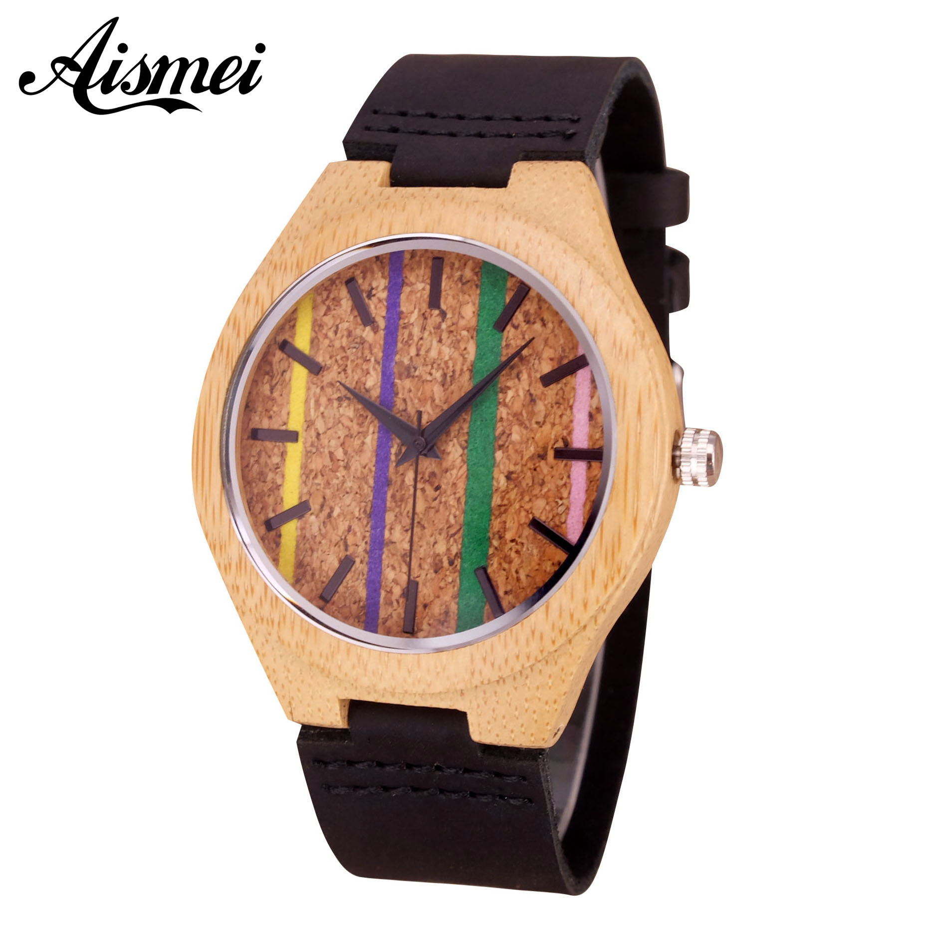 2018 Fashion Colorful Dial Wooden Watch for Men Women Casual Wood Genuine Leather band Quartz Watches Luxury Unisex Gift