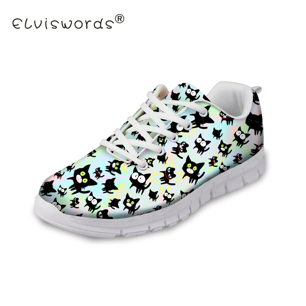 ELVISWOTRD Summer Women Flats Shoes Cute Animal Black Cat Prints Comfortable Mesh Shoes Woman Leisure Sneakers Female Girls instantarts women flats emoji face smile pattern summer air mesh beach flat shoes for youth girls mujer casual light sneakers