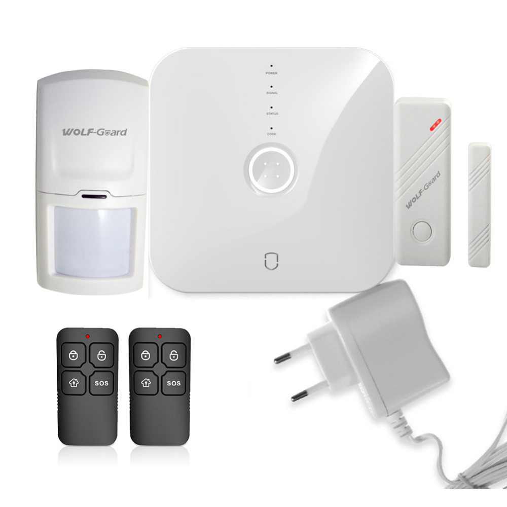 Wolf-Guard Wireless Smart 2.4G Wifi Home Security Alarm Burglar System Door Sensor PIR Motion Detector App Control 433MHZ