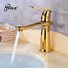 Full Copper Cold&Hot Water Table Torneira Faucet Gold Single Hole Contemporary Bathroom Ceramic Spool Basin