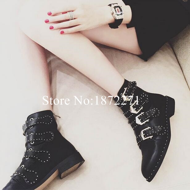 Black Leather Studded Ankle Boots For Women Gold Metal Buckle Strap Sexy Motorcycle Booties Flat Heel Women Dress Shoes Size 10