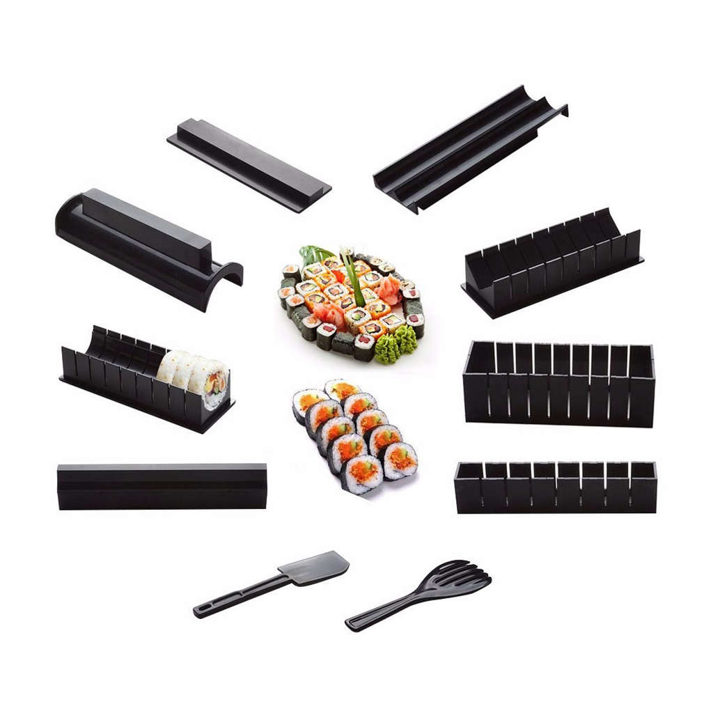 10 Pics/Set Diy Sushi Maker Onigiri Mold Rice Mould Kits Kitchen Bento Accessories Tools Combination Roll Rice Ball Tool image