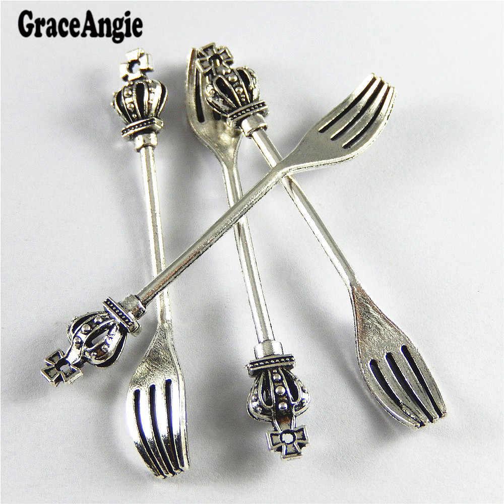GraceAngie 10 pcs Antigo Encanto De Prata Coroa Criativo Faca Garfo de Suspensão Da Liga Pingente Pulseira Jóias Acessório 60*8 * 7mm
