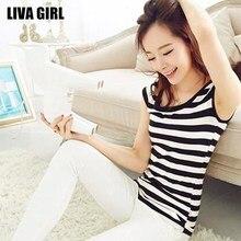 Liva Girl Hot Sale Women Slim Striped T-Shirt Black White O-Neck Tops Tees Plus