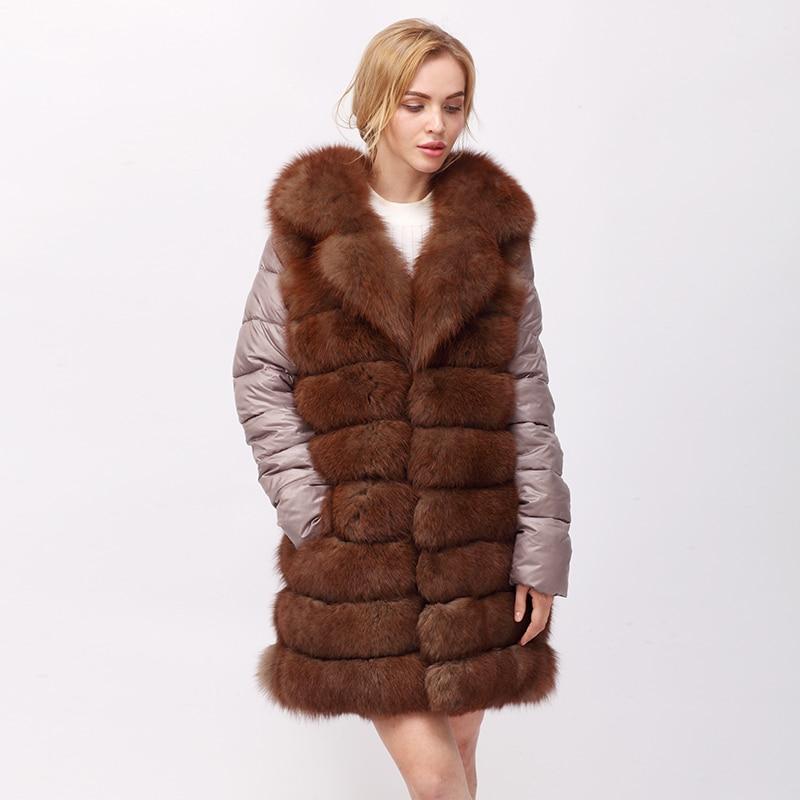 CNEGOVIK 2017 NUOVE donne reali della pelliccia di volpe cappotto di pelliccia delle donne lungo blu di pelliccia di volpe cappotti con manica Piuma