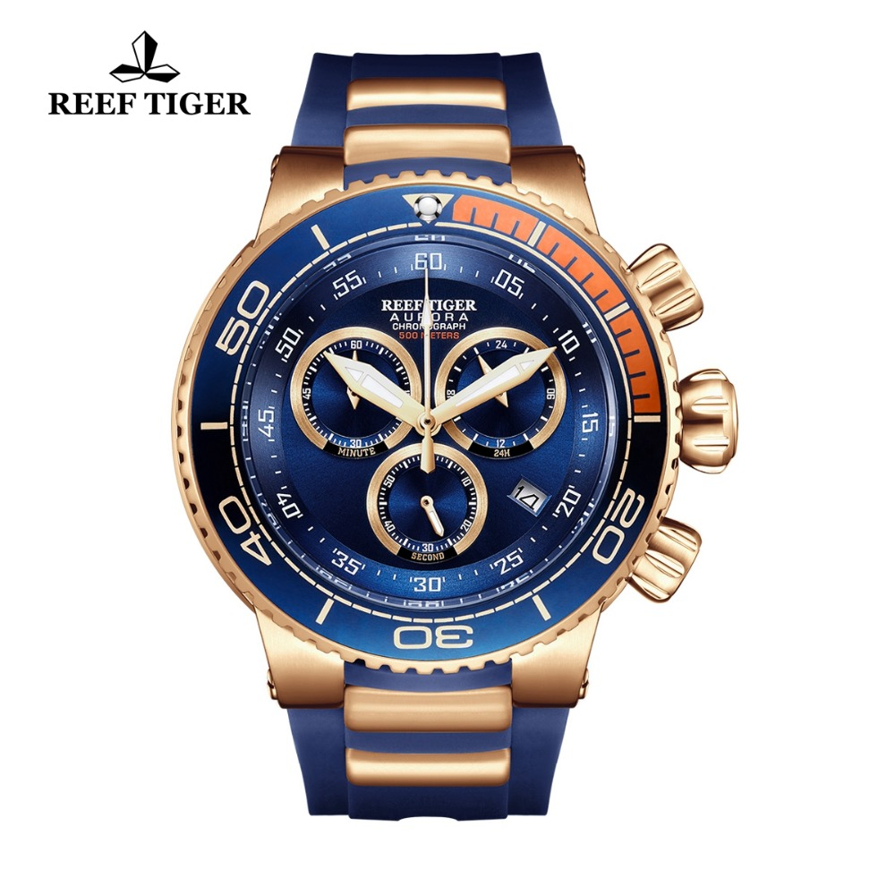 Reef Tiger/RT Top Brand Luxury Blue Sport Watch for Men Rubber Strap Rose Gold Waterproof Watches Relogio Masculino RGA3168 2018 reef tiger rt top brand sport watch for men luxury blue watches leather strap waterproof watch relogio masculino rga3363