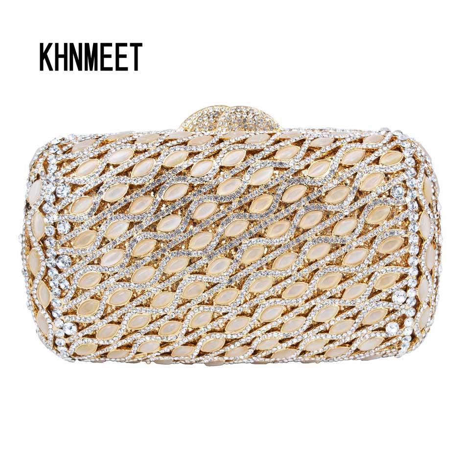 Original Sparkly Luxury ivory Evening Bag gem Diamond Crystal women day clutch Party Purse Wedding Bag pochette Female Bag SC569