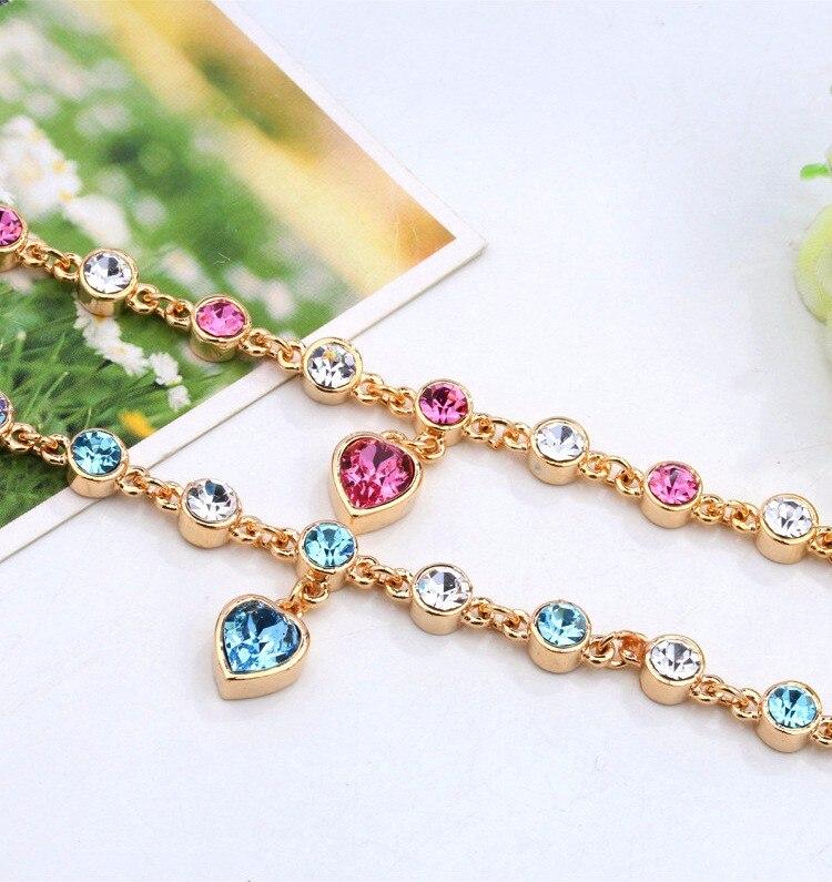 LYIYUNQ Fashion Bracelet Hot Wedding Female Heart Crystal Bracelets For Women Luxury Temperament Silver-Color Fine Jewelry Gift 12
