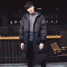 Men's winter jacket loose hooded long outwear fashion casual women's thick warm cotton padded parkas coat black C503
