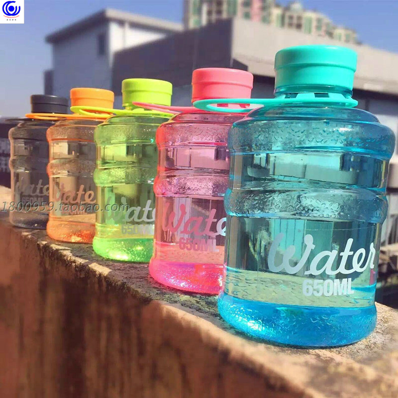 Creative cool large-capacity plastic cup mini bucket portable leak proof 650ml cute water bottle drinking juice